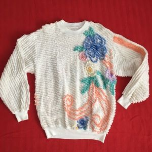VTG White Chenille Bedspread Style Floral Sweater